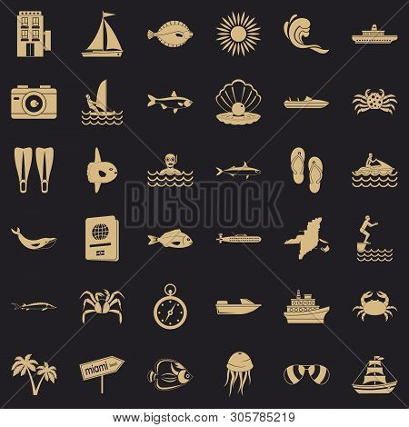 Oceanic Icons Set. Simple Set Of 36 Oceanic Vector Icons For Web For Any Design