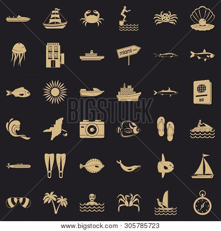 Pelagic Icons Set. Simple Set Of 36 Pelagic Vector Icons For Web For Any Design