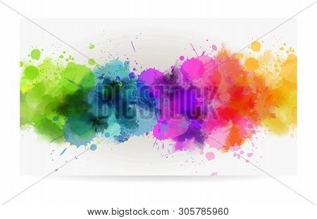 Banner Background With Colorful Watercolor Imitation Splash Blots Line. Template For Your Designs. M
