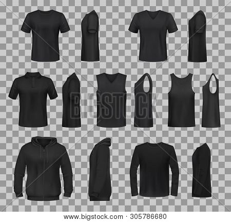 Women Clothes Black Templates And Sportswear Apparel 3d Realistic Mockup Models. Vector Isolated T-s