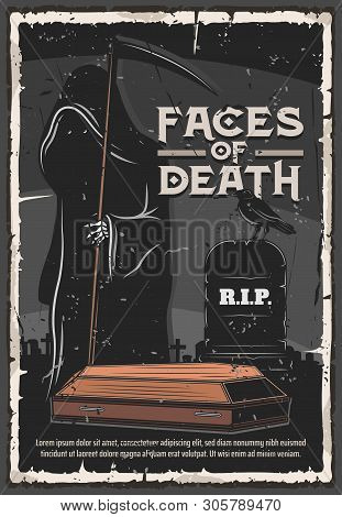 Funeral Service, Burial Ceremony Organization Agency Or Company Vintage Poster. Vector Death In Blac
