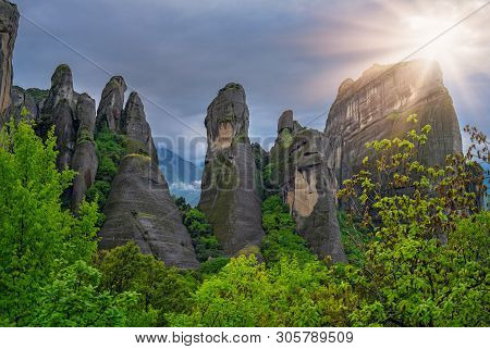 Panoramic View Of The Impressive Rock Formations And Landscape At Meteora At Dusk, Trikala Region, G