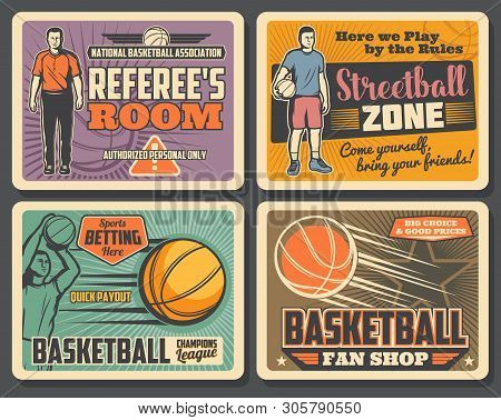 Basketball Champions League Tournament, Streetball Sport Club Championship Vintage Posters. Vector B
