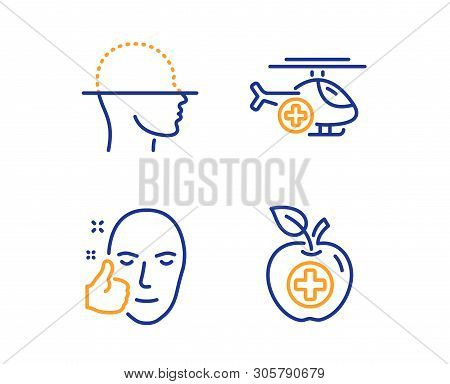 Face Scanning, Medical Helicopter And Healthy Face Icons Simple Set. Medical Food Sign. Faces Detect