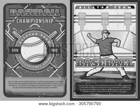 Baseball Sport Championship, Professional Team Club Game And League Tournament Vintage Posters. Vect