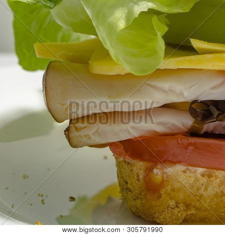 Up Close View Of Mouthwatering Deli Sandwich