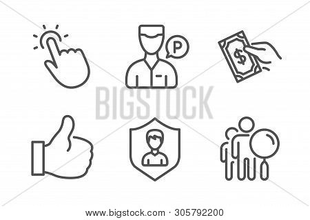 Valet Servant, Touchpoint And Pay Money Icons Simple Set. Security Agency, Like And Search People Si