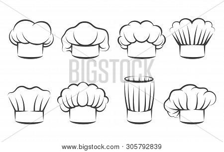 Cook Chef Hats Icons. Hand Drawn Chefs Toque Vector Illustration, Kitchen Cooker Caps Isolated On Wh