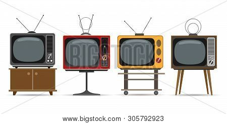 Vintage Television Vector Illustrations. Old Tv Images, Retro Tvs Graphic Set With Cartoon Screens F