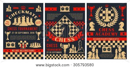 Chess Academy Tournament, Checkmate Strategy Sport Championship Game Posters. Vector Chess Club Cup