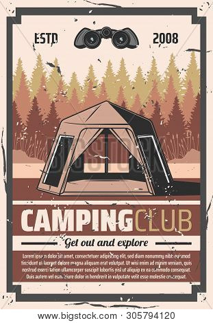 Camping Outdoor Adventure, Wild Nature Tourist Club Vintage Retro Poster. Vector Hiking And Travel T