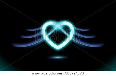 Abstract Neon Heart With Wings, Gothic Anime, Blue Glow Radiant Effect Of Love For Valentines Day. H