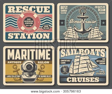 Nautical Vintage Posters, Marine Adventure And Water Swimmer Rescue Station. Vector Marine Relics An