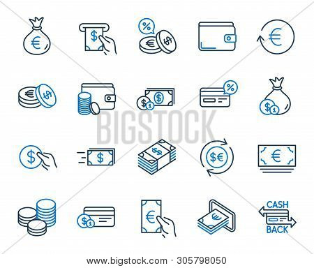 Money Wallet Line Icons. Set Of Credit Card, Cash And Coins Icons. Banking, Currency Exchange And Ca