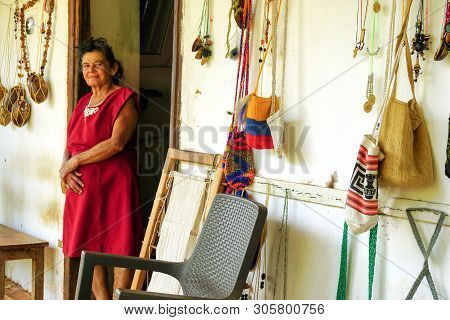Guane, Colombia - February 21:peasant Woman Poses At Her Home In Guane, Santander On February 21, 20