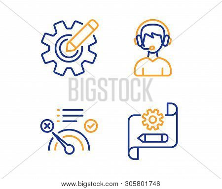 No internet, Consultant and Cogwheel icons simple set. Cogwheel blueprint sign. Bandwidth meter, Call center, Edit settings. Technology set. Linear no internet icon. Colorful design set. Vector poster