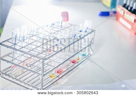Close-up Of Test Tubes Arranged On A Tray In Medical Laboratory. Medical Healthcare Analysis In A Ho
