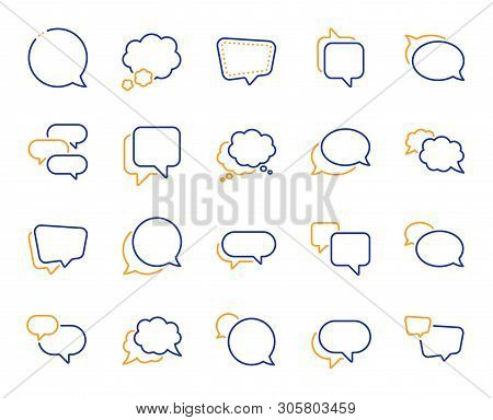 Speech Bubbles Line Icons. Social Media Message, Comic Bubbles And Chat. Think Sticker, Comment Spee