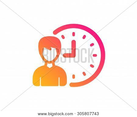 Business Project Deadline Icon. Working Hours Or Time Management Sign. Classic Flat Style. Gradient