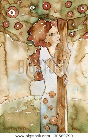 watercolor of women - the tree