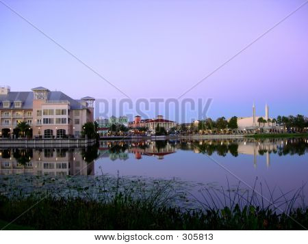 Celebration, Florida At Twilight