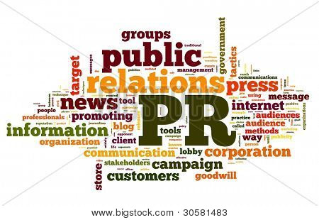 Public relations concept in word tag cloud on white background poster