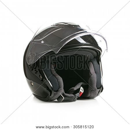 Open face motorcycle helmet isolated on white background.