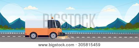 street sweeper truck machine cleaning process industrial vehicle asphalt road service concept river mountains landscape background horizontal banner flat poster