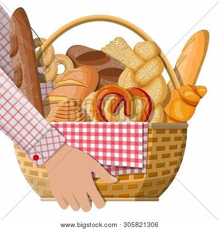 Bread Icons And Wicker Basket In Hand. Whole Grain, Wheat And Rye Bread, Toast, Pretzel, Ciabatta, C