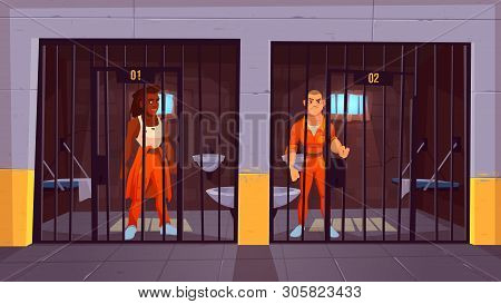 Prisoners In Prison Jail. People In Orange Jumpsuits In Cell. Arrested Convict Male Characters Stand