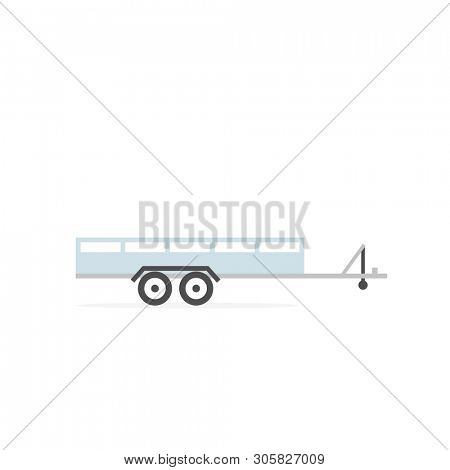 Large open car trailer icon. Clipart image isolated on white background
