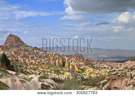 Photo Taken In Turkey. In The Photo, The Cave City Of Uchisar Before Sunset.