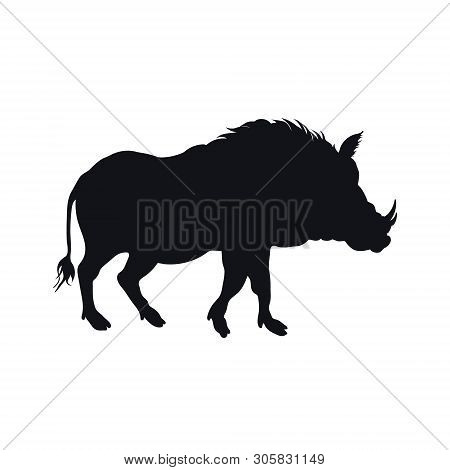 Black Silhouette Of African Boar On White Background. Isolated Desert Warthog Icon. Wild Animals Of