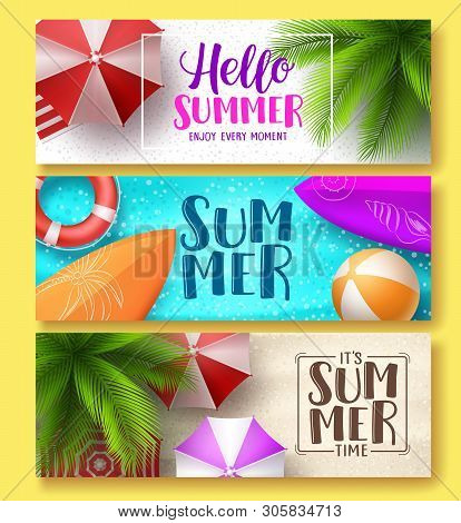 Summer Design Vector Banner Set. Hello Summer Greeting Text In Beach Sand With Colorful Summer Eleme