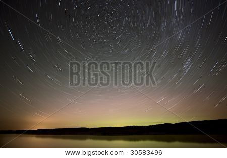 Night Shot Star Trails Lake