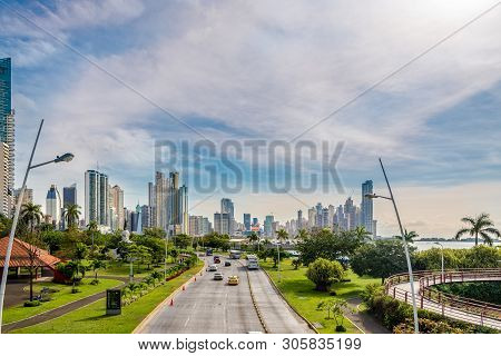 Panama City,panama - March 30,2019 - View At The Downtown Of Panama City. Panama City Is Capital Of