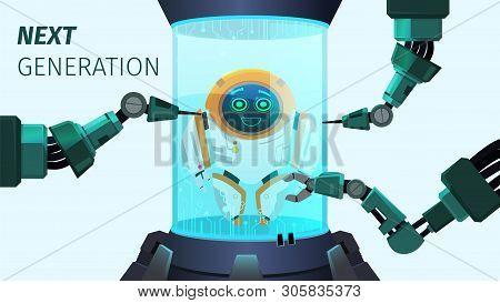 Next Generation Improvement, Inscription Cartoon. Progressive Science Future Creates An Artificial I