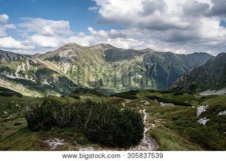 Zapadne Tatry Mountains Scenery With Hruby Vrch Peak, Otrhance Mountain Ridge With Highest Jakubina
