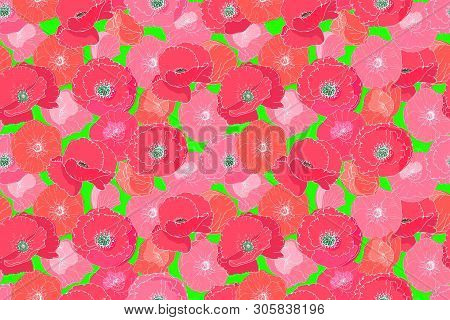 Art Floral Vector Seamless Pattern With Papaver. Red And Pink Poppies And Mallows On Neon Green Back