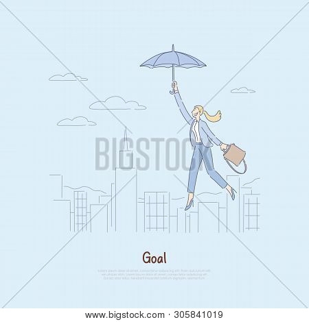 Woman Floating On Umbrella Over City, Getting Inspired To Achieve Success, Personal Growth, Achievem