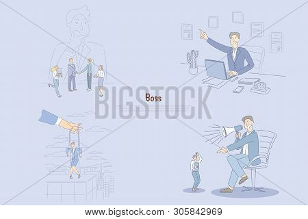 Man Thinking About His Employees, Angry Manager Sitting In Office, Businesswoman Controlled By Hand,