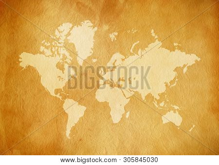 Vintage world map on old parchment paper texture poster