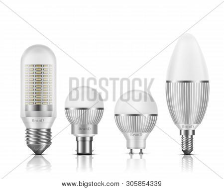Modern, Different Shape And Base Types Led Bulbs With Heat Sinks 3d Realistic Vector Set Isolated On