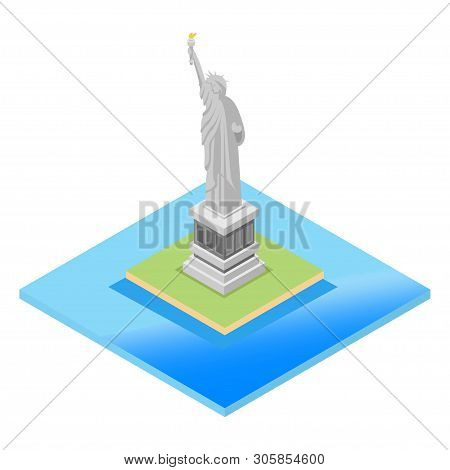 Isometric Panorama View Of The Statue Of Liberty With One World Trade Center And Manhattan Downtown