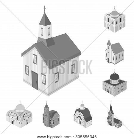 Vector Design Of Landmark And Clergy Logo. Collection Of Landmark And Religion Vector Icon For Stock