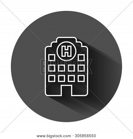 Hospital Building Icon In Flat Style. Infirmary Vector Illustration On Black Round Background With L