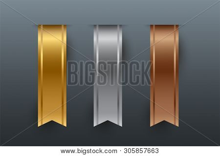 Gold, Silver, Bronze Vertical Ribbons Isolated On Gray Background. Vector Design Elements