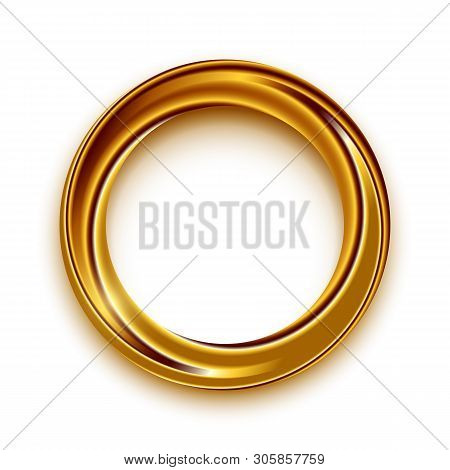 Golden Shining Circle Text Frame Illustration. Glowing Round Border With Copyspace On White Backgrou