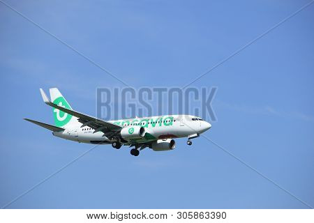 Amsterdam, The Netherlands - July 21st 2016: Ph-xrv Transavia Boeing 737,  Approaching Polderbaan Ru