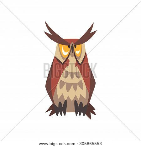 Great Horned Owl Bird Character, Eurasian Eagle Owl Vector Illustration